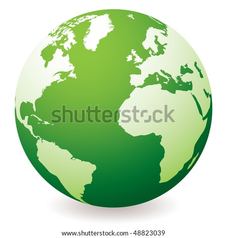 green planet earth showing a green globe with drop shadow - stock vector