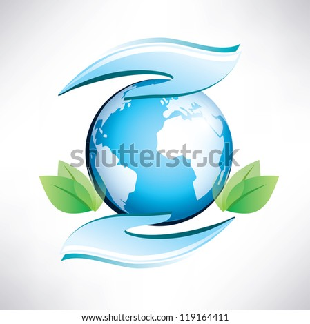 green planet, safety of environment, ecology concept - stock vector
