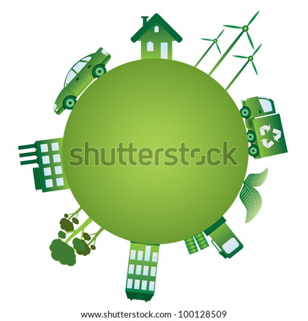 Green planet with green ecology objects on it. - stock vector