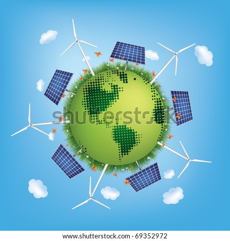 Green Planet with Solar Panels and Windmills.Vector. - stock vector