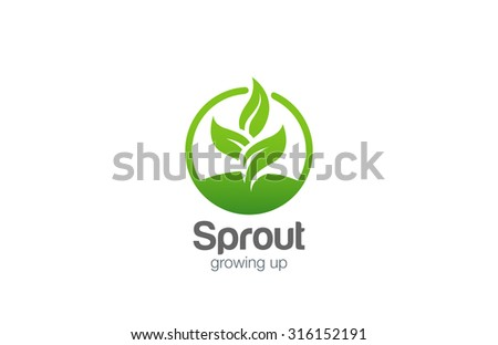 Green Plant Abstract Logo circle shape design vector template.