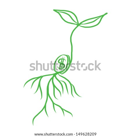 Green plant growing from  coin seed - stock vector