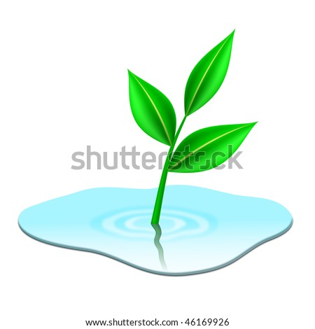 Green plant growing from puddle - EPS 10 vector icon - stock vector