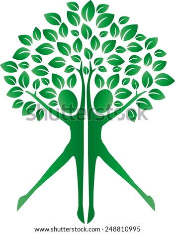green plant human bodies logo ecology - stock vector