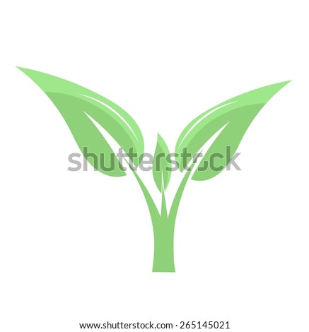 Green plant icon. Vector illustration