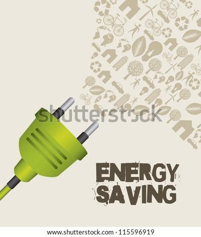 green plug with icons, energy saving. vector illustration - stock vector