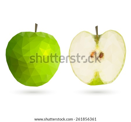 Green polygonal geometric apple, full and a half, isolated on white background. Vector illustration.