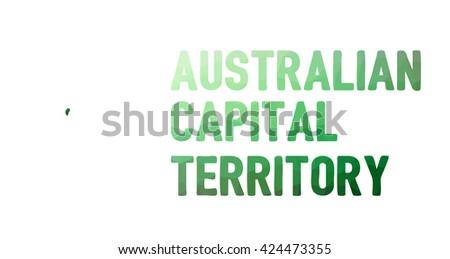 Green polygonal mosaic map of Australian Capital Territory - political part of Australia, territory, ACT; correct proportions - stock vector