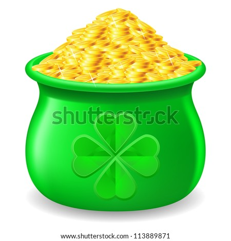 Green Pot full of gold coin. Illustration on white - stock vector