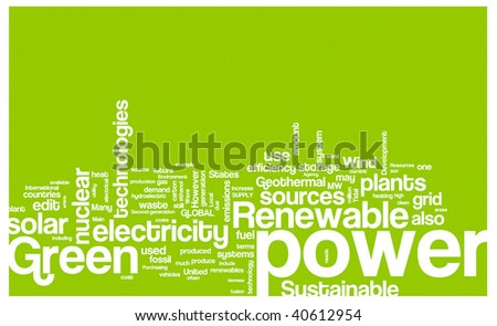 Green power word cloud illustration. Graphic tag collection. - stock vector