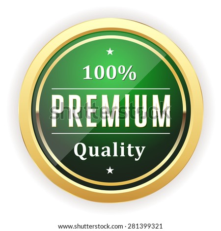 Green premium quality badge with gold border on white background