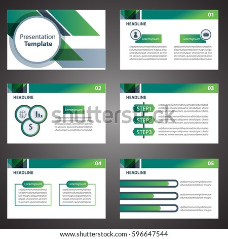 Green Presentation Template Infographic Elements Flat Stock Vector ...