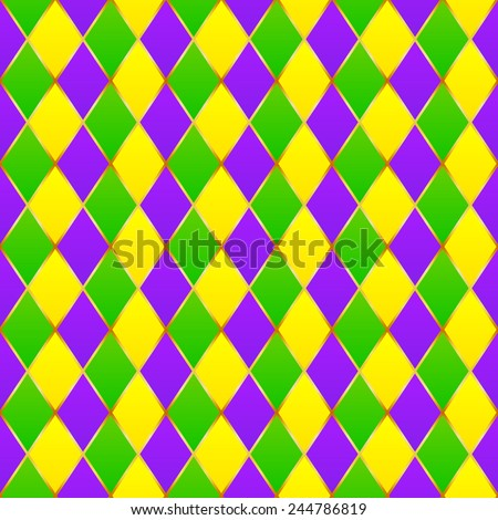 Green, purple, yellow grid Mardi gras seamless vector pattern - stock vector