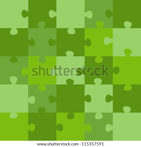 green puzzle - stock vector