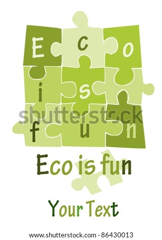 Green puzzle. Eco is fun. place for your text - vector. - stock vector