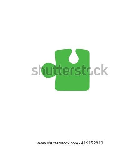 Green puzzle icon vector illustration. - stock vector