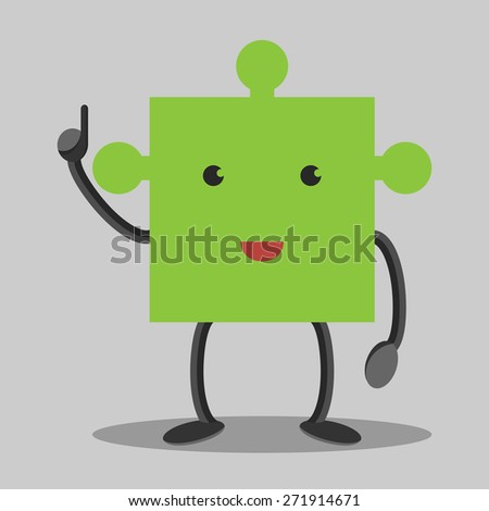 Green puzzle piece character in moment of insight. Solution, idea concept. EPS 10 vector illustration, no transparency - stock vector