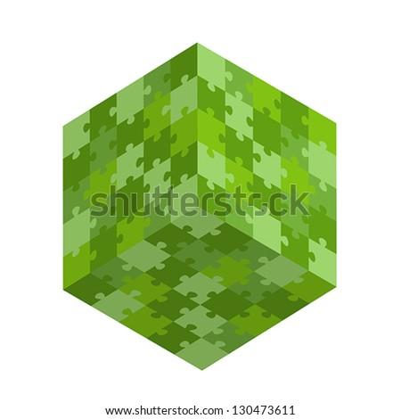 green puzzle square. green puzzle concept - stock vector