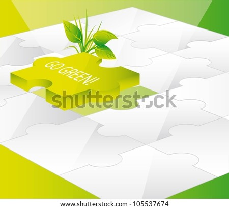 green puzzles with go green text. vector  illustration