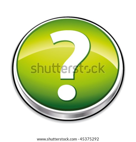 Green question mark button. Vector illustration. - stock vector