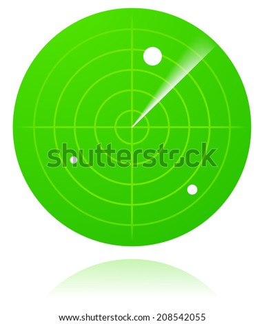 Green radar screen isolated - stock vector
