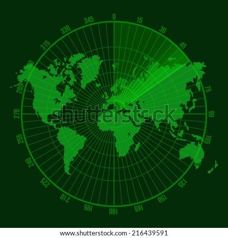 Green Radar Screen. Vector Illustration on Map Background - stock vector