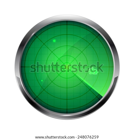 Green radar with Easter bunny isolated on white background, illustration. - stock vector