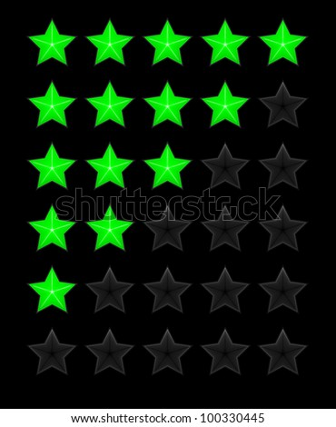 Green rating stars on the black background vector - stock vector