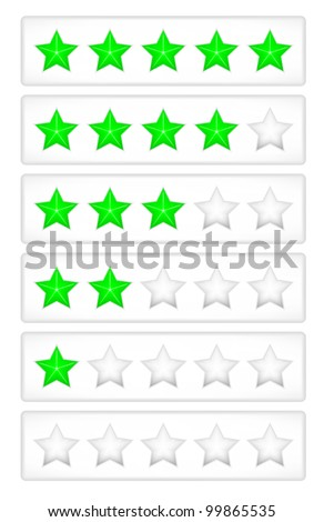 Green rating stars on the grey button vector - stock vector