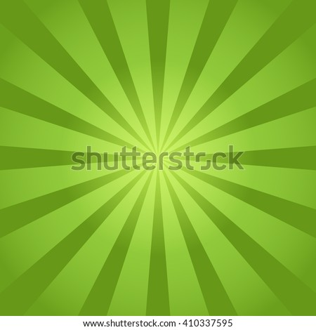 Green rays background - stock vector