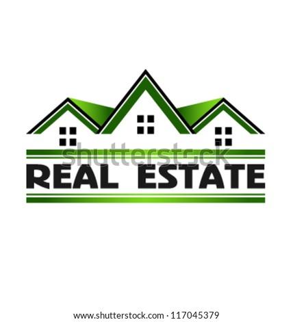 Green Real Estate Houses. Vector icon - stock vector