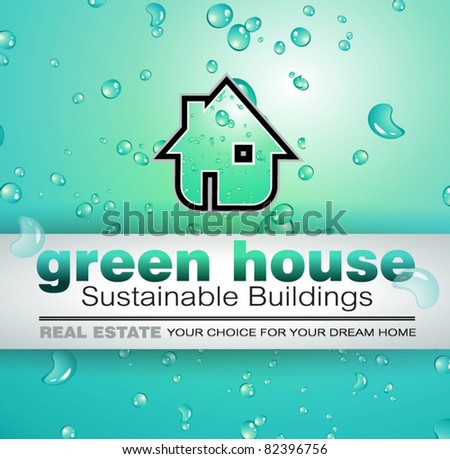 Green Real Estate water drops background for advertising of available bio houses or eco buildings for sale. Shadow is transparent. - stock vector