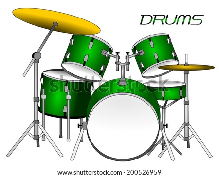 Green realistic drums set with gold cymbal, vector art image illustration, isolated on white background, eps10 - stock vector