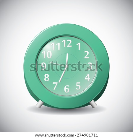 Green realistic 12 hour analog clock on grey background. - stock vector