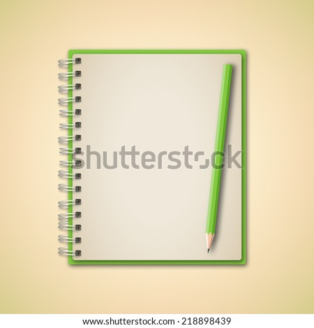 Green Realistic Notebook and Pencil Vector  - stock vector