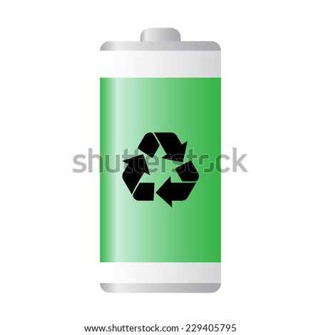 Green recyclable battery vector - stock vector