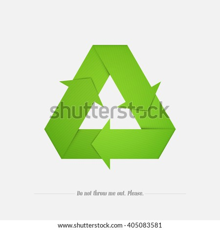 green recycle icon isolated on white background. vector eco reuse symbol. paper origami style arrows, triangle shape. global environment concept logo design. nature conservation sign - stock vector