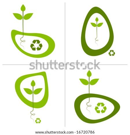 Green recycle logo designs. - stock vector
