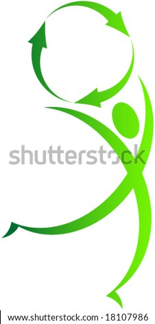 Green recycle man and symbol. Vector. - stock vector