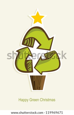 Green Recycle symbol Christmas tree in cartoon style.  Vector illustration layered for easy manipulation and custom coloring. - stock vector