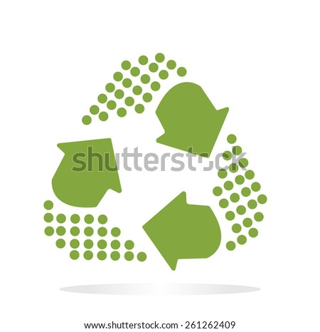 Green Recycle symbol with digital dot tail isolated on white background - stock vector