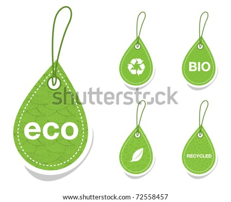 Green recycle tags - stock vector