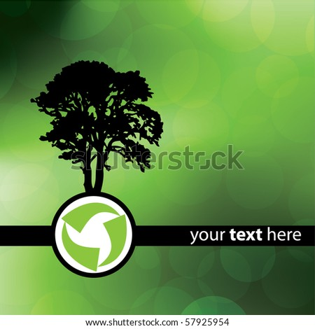 Green Recycle Tree Design - stock vector