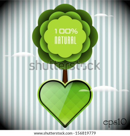 Green 100% Recycled Abstract Tree - stock vector