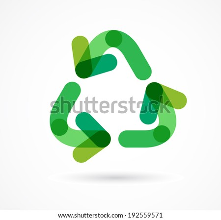 green recycling icon and symbol - stock vector