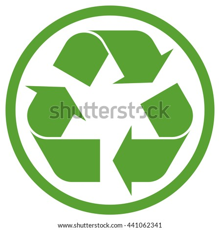 green recycling sign in circle isolated on white background - stock vector