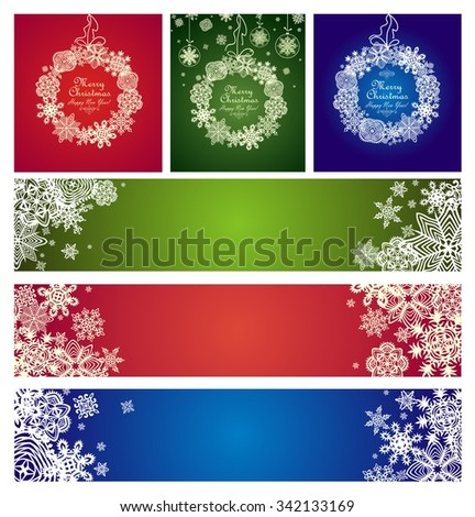 Green, red and blue decoration with paper snowflakes for winter holidays - stock vector