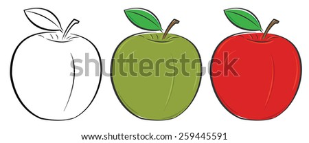Green, red and outlined apple set. Healthy food concept. Vector illustration. - stock vector