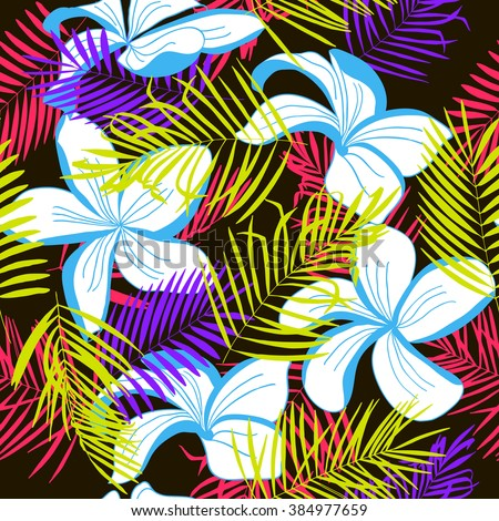 Green, red, purple tropical palm trees and blue flowers on black. Abstract background seamless pattern. - stock vector