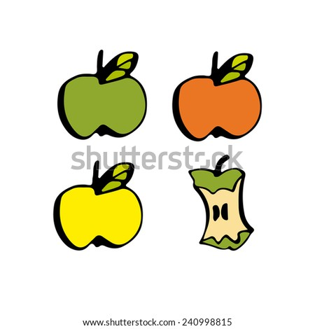 Green, red, yellow apples and apple core. - stock vector